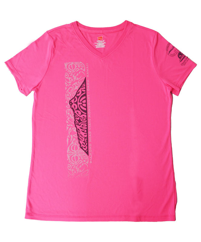 Women's Diamond Head Tattoo V-Neck T-Shirt, Hot Pink