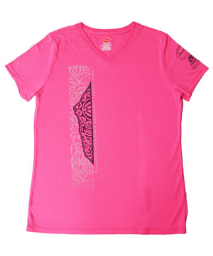 Women's Diamond Head Tattoo Active V-Neck, Hot Pink