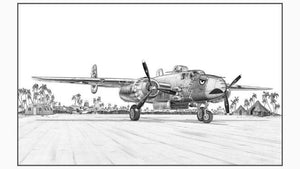 "Signed B-25 Mitchell Matted Print, 11"" x 6.5"""