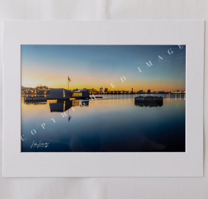 USS Arizona Memorial At Sunrise Matted Photograph, 5x7