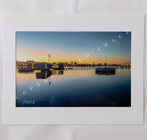 USS Arizona Memorial At Sunrise Matted Photograph, 4x6