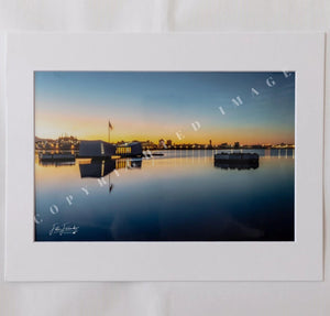 USS Arizona Memorial At Sunrise Matted Photograph, 8x12