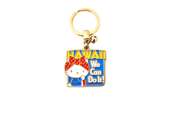 Hello Kitty Rosie We Can Do It Keychain, Gold