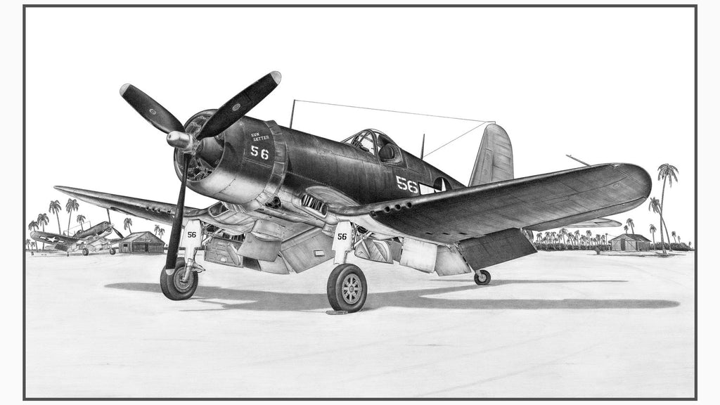 "F4U Corsair Matted Illustration Print 11.75"" x 19.25"""