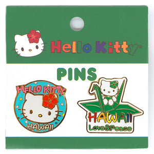 Hello Kitty Love & Peace Pin Set - Pink, Yellow, Orange, Purple, Red, Green, Blue