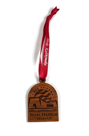 Pearl Harbor Christmas Ornament, Koa Wood