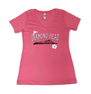 Women's Hibiscus Diamond Head Pink Shirt