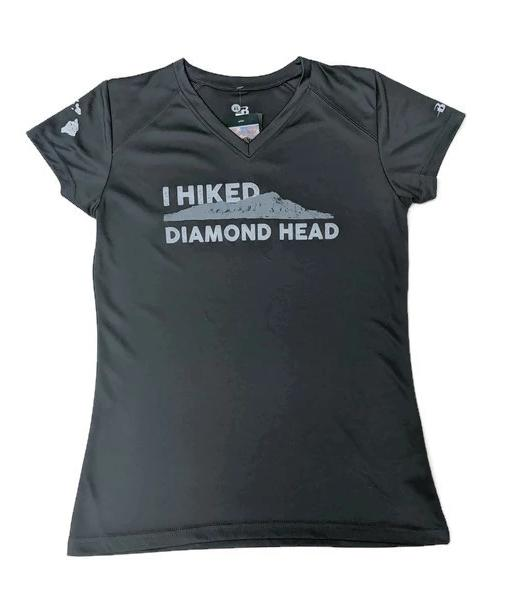 Women's I Hiked Diamond Head Crater Active V-neck, Dark Gray