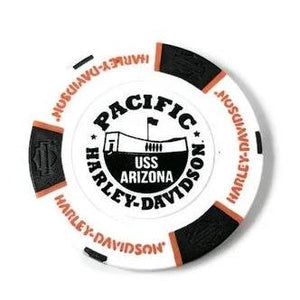 USS Arizona Memorial And Harley-Davidson Poker Chip, White And Black