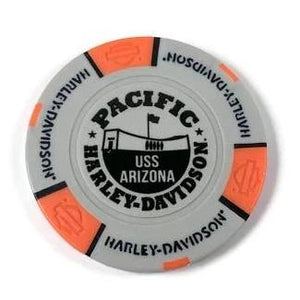 USS Arizona Memorial And Harley-Davidson Poker Chip, Grey And Orange