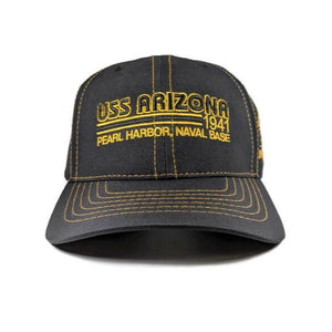 USS Arizona Pearl Harbor Naval Base Black And Gold Cap