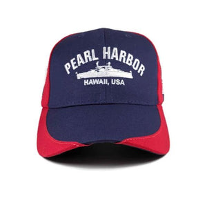 USS Arizona Battleship Red And Blue Cap
