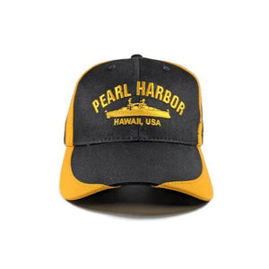 USS Arizona Battleship Black And Gold Cap