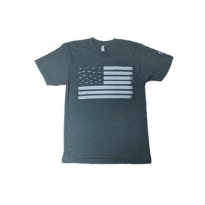 Men's American Tribute Brand Flag Plane T-Shirt, Blue Gray