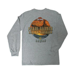 Men's Harley-Davidson Remember Pearl Harbor Long Sleeve Shirt, Grey