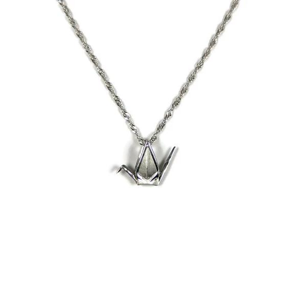 Sadako Sasaki Crane Pendant Necklace, Sterling Silver 10 mm