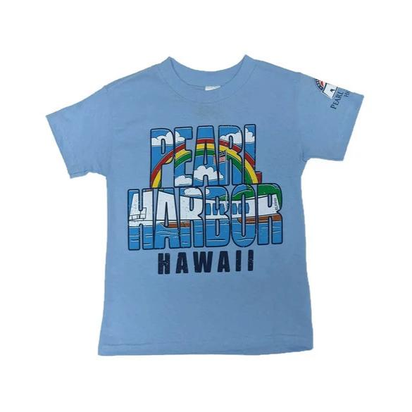 Kid's Rainbow Pearl Harbor Shirt, Light Blue