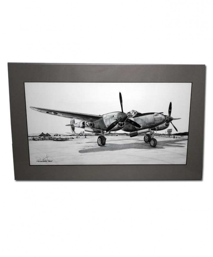 "11.75"" x 19.25"" P-38 Lightning Matted Illustration Print"