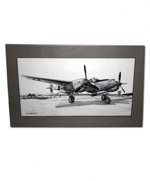 "Signed P-38 Lightning Matted Print, 19.25"" x 11.75"""