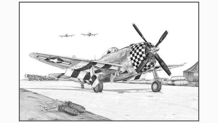"11.75"" x 19.25"" P-47 Thunderbolt Illustration Print w/ Matted Frame"
