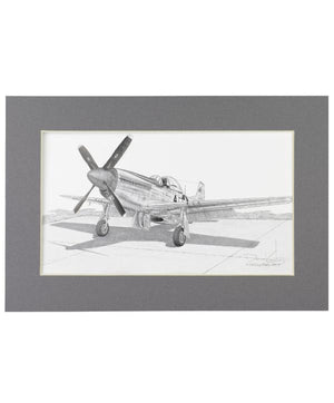 "11.75"" x 19.25"" P-51 Mustang Matted Illustration Print"
