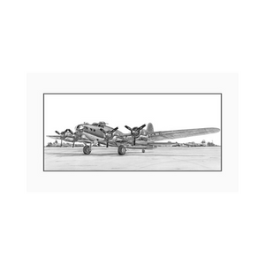 "Signed B-17 Flying Fortress Matted Print, 12"" x 5.75"""