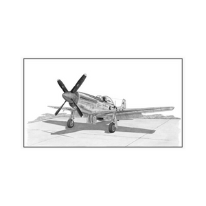 "Signed P-51 Mustang Matted Print, 10.75"" x 7"""