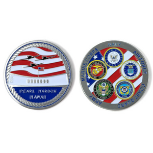 USS Arizona Memorial And Armed Forces Silver-Brushed Challenge Coin, 42 mm