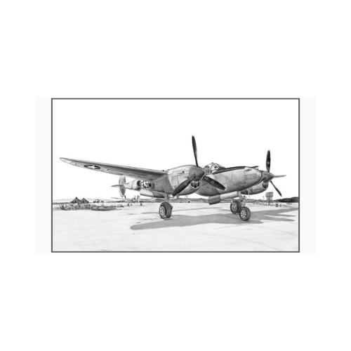 "Signed P-38 Lightning Matted Print, 10.75"" x 7"""