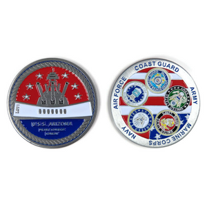 BB39 Memorial And Armed Forces Silver-Brushed Challenge Coin, 42 mm