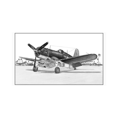 "Signed F4U Corsair Matted Print, 19.25"" x 11.75"""