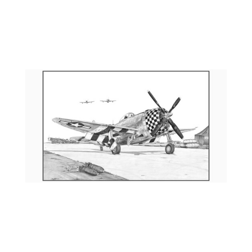 "Signed P-47 Thunderbolt Matted Print, 10.75"" x 7"""