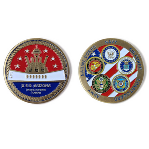 BB39 Memorial And Armed Forces Gold-Brushed Challenge Coin, 42 mm