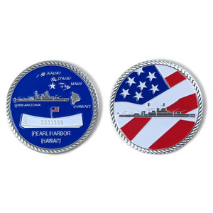 USS Arizona Blue And Silver-Brushed Challenge Coin, 39 mm
