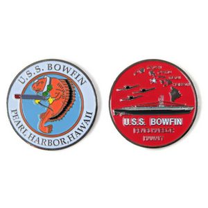 USS Bowfin Submarine Challenge Coin, 39 mm