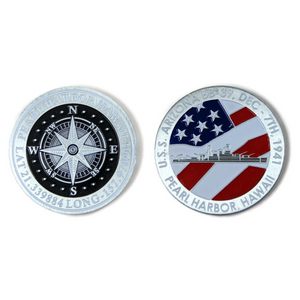 BB39 Compass Silver-Brushed Challenge Coin, 39 mm