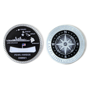 USS Arizona And Compass Silver-Brushed Challenge Coin, 39 mm