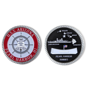 USS Arizona Bell Red And Silver-Brushed Challenge Coin, 39 mm