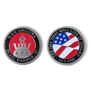 Day of Infamy Red And Silver-Brushed Challenge Coin, 39 mm