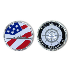 USS Arizona Battleship And Bell Silver-Brushed Challenge Coin, 39 mm