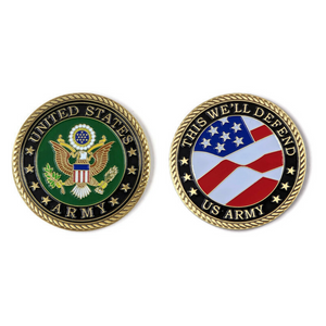 US Army Brass-Brushed Challenge Coin, 39 mm