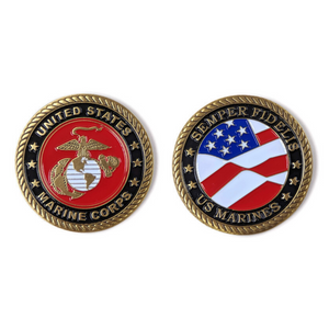 USMC Brass-Brushed Challenge Coin, 39 mm