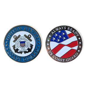 USCG Silver-Brushed Challenge Coin, 39 mm