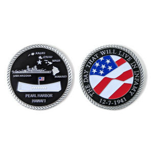 Day of Infamy Black And Silver-Brushed Challenge Coin, 39 mm