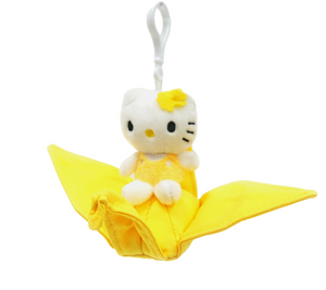 "Hello Kitty on Tsuru Crane 4"" Plush Toy - Yellow"