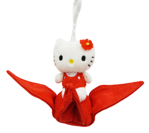 "Hello Kitty on Tsuru Crane 4"" Plush Toy - Red"