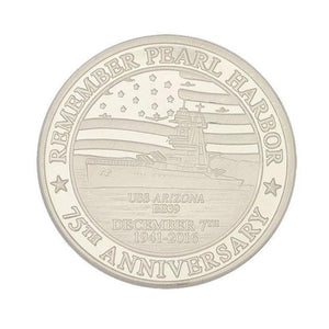 75th Anniversary Edition Remember Pearl Harbor Commemorative Coin, Pure Silver