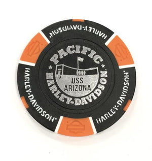USS Arizona Memorial And Harley-Davidson Poker Chip, Black And Orange