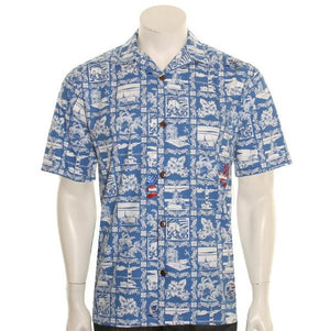 75th Pearl Harbor Aloha Shirt By Hilo Hattie, Light blue