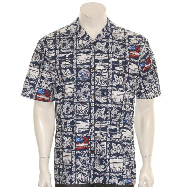 75th Anniversary Pearl Harbor Aloha Shirt By Hilo Hattie, Navy Blue